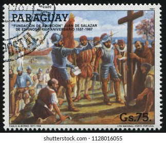 RUSSIA KALININGRAD, 19 APRIL 2017: stamp printed by Paraguay, shows Founding of Asuncion, circa 1987