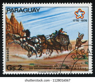 RUSSIA KALININGRAD, 19 APRIL 2017: stamp printed by Paraguay, shows Stage-coach, circa 1976