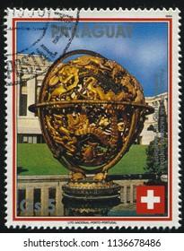 RUSSIA KALININGRAD, 19 APRIL 2017: stamp printed by Paraguay, shows Manship Globe, UN in Geneva, circa 1990