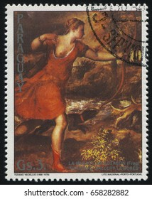 RUSSIA KALININGRAD, 19 APRIL 2017: stamp printed by Paraguay, shows Painting Death of Actaeon by Titian, circa 1989