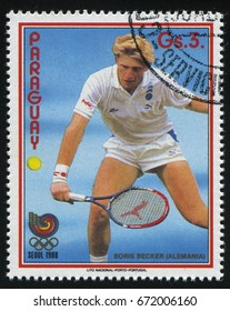 RUSSIA KALININGRAD, 19 APRIL 2017: stamp printed by Paraguay, shows Boris Becker, tennis player from Germany, circa 1988