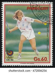 RUSSIA KALININGRAD, 19 APRIL 2017: stamp printed by Paraguay, shows Steffi Graff, tennis player at Seoul, circa 1988