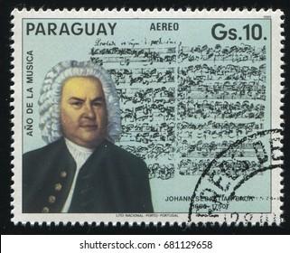 RUSSIA KALININGRAD, 19 APRIL 2017: stamp printed by Paraguay, shows the portrait of Johann Sebastian Bach, circa 1985