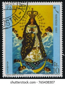 RUSSIA KALININGRAD, 19 APRIL 2017: stamp printed by Paraguay, shows Our Lady of Caacupe, circa 1981