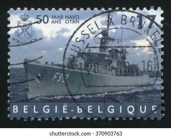 RUSSIA KALININGRAD, 19 OCTOBER 2015: stamp printed by Belgium, shows Frigate Wandelaar, NATO, circa 1999