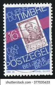 RUSSIA KALININGRAD, 19 OCTOBER 2015: stamp printed by Belgium, shows Stamp Day, circa 1994