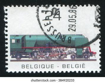 RUSSIA KALININGRAD, 19 OCTOBER 2015: stamp printed by Belgium, shows Steam locomotive, circa 1984