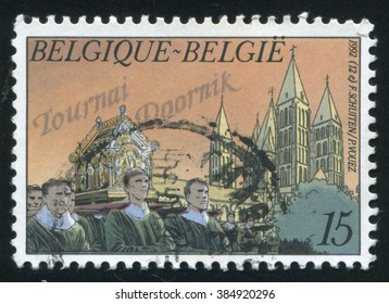 RUSSIA KALININGRAD, 19 OCTOBER 2015: stamp printed by Belgium, shows Great Procession Tournai, circa 1992