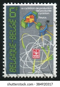 RUSSIA KALININGRAD, 19 OCTOBER 2015: stamp printed by Belgium, shows Cyclotron, circa 1982