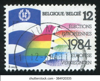 RUSSIA KALININGRAD, 19 OCTOBER 2015: stamp printed by Belgium, shows 2nd European Parliament Elections, circa 1984