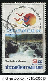 RUSSIA KALININGRAD, 2 JUNE 2016: stamp printed by Thailand, shows beautiful nature of ASEAN countries, 1992