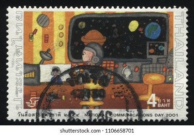 RUSSIA KALININGRAD, 2 JUNE 2016: stamp printed by Thailand, shows space video communication, 2001