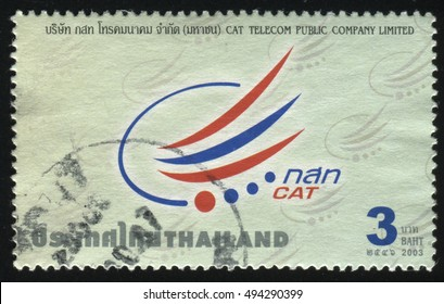RUSSIA KALININGRAD, 2 JUNE 2016: stamp printed by Thailand, shows logo of the company CAT Telecom Public Company Limited, 2003