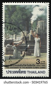 RUSSIA KALININGRAD, 2 JUNE 2016: stamp printed by Thailand, shows the first lighting of Olympic torch, circa 1996