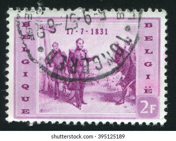 RUSSIA KALININGRAD, 20 OCTOBER 2015: stamp printed by Belgium, shows Leopold I Arriving at Belgian Border, circa 1957