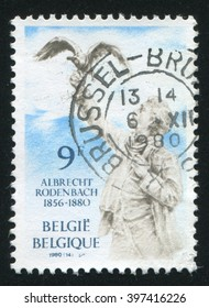 RUSSIA KALININGRAD, 20 OCTOBER 2015: stamp printed by Belgium, shows Rodenbach Statue Roulers, circa 1980