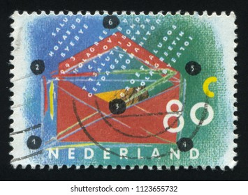 RUSSIA KALININGRAD, 21 JUNE 2017: stamp printed by Netherlands shows abstraction, circa 1993
