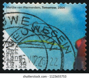RUSSIA KALININGRAD, 21 JUNE 2017: stamp printed by Netherlands shows Tomorrow, by Marijke van Warmerdam, circa 2004