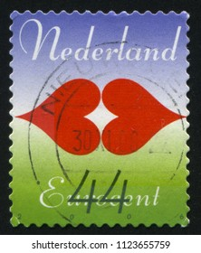 RUSSIA KALININGRAD, 21 JUNE 2017: stamp printed by Netherlands shows two hearts, circa 2006