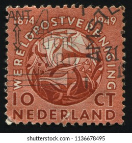 RUSSIA KALININGRAD, 21 JUNE 2017: stamp printed by Netherlands shows Post Horns Entwined, circa 1949