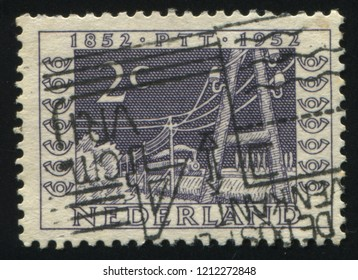 RUSSIA KALININGRAD, 21 JUNE 2017: stamp printed by Netherlands shows locomotive, circa 1952