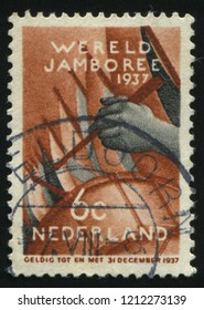 RUSSIA KALININGRAD, 21 JUNE 2017: stamp printed by Netherlands shows drummer, circa 1937