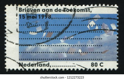 RUSSIA KALININGRAD, 21 JUNE 2017: stamp printed by Netherlands shows Letter Writing Day, circa 1998