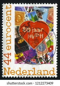 RUSSIA KALININGRAD, 21 JUNE 2017: stamp printed by Netherlands shows heart and stamp, circa 2008