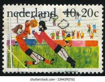 RUSSIA KALININGRAD, 21 JUNE 2017: stamp printed by Netherlands shows child painted picture, circa 2005