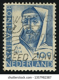 RUSSIA KALININGRAD, 21 JUNE 2017: stamp printed by Netherlands shows St Boniface, circa 1954