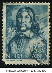 RUSSIA KALININGRAD, 21 JUNE 2017: stamp printed by Netherlands shows Cornelis Tromp, circa 1943