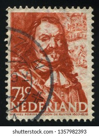 RUSSIA KALININGRAD, 21 JUNE 2017: stamp printed by Netherlands shows Admiral Ruyter, circa 1943