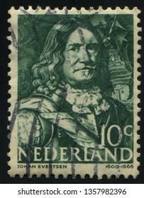 RUSSIA KALININGRAD, 21 JUNE 2017: stamp printed by Netherlands shows Johan Evertsen, circa 1943