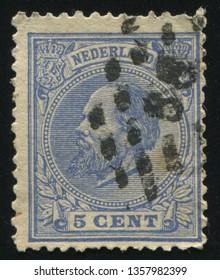 RUSSIA KALININGRAD, 21 JUNE 2017: stamp printed by Netherlands shows emperor William, circa 1872