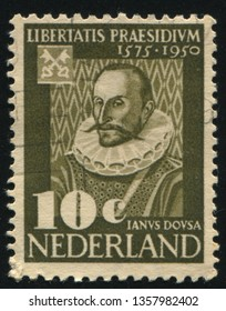 RUSSIA KALININGRAD, 21 JUNE 2017: stamp printed by Netherlands shows Janus Dousa, circa 1950