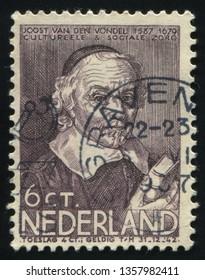 RUSSIA KALININGRAD, 21 JUNE 2017: stamp printed by Netherlands shows Joost Vondel, circa 1937