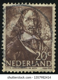 RUSSIA KALININGRAD, 21 JUNE 2017: stamp printed by Netherlands shows Witte de With, circa 1943