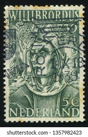 RUSSIA KALININGRAD, 21 JUNE 2017: stamp printed by Netherlands shows St Willibrord, circa 1939