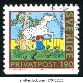 RUSSIA KALININGRAD, 21 OCTOBER 2013: stamp printed by Sweden, shows Pippi Longstocking, circa 1987