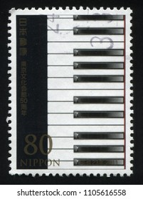 RUSSIA KALININGRAD, 22 APRIL 2016: stamp printed by Japan, shows piano key buttons, circa 2011