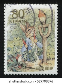 RUSSIA KALININGRAD, 22 APRIL 2016: stamp printed by Japan shows The Tale of Peter Rabbit, circa 2012