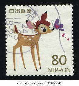 RUSSIA KALININGRAD, 22 APRIL 2016: stamp printed by Japan, shows fawn Bambi, circa 2011