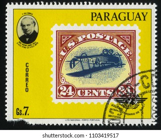 RUSSIA KALININGRAD, 22 APRIL 2017: stamp printed by Paraguay, shows Sir Rowland Hill and a stamp reproducing Newfoundland's first air mail stamp, circa 1979