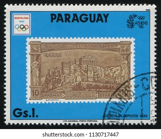 RUSSIA KALININGRAD, 22 APRIL 2017: stamp printed by Paraguay, shows the stamp with the view of Greece, circa 1989