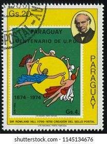 RUSSIA KALININGRAD, 22 APRIL 2017: stamp printed by Paraguay, shows Sir Rowland Hill and a stamp reproducing gods flying around the sun, circa 1980