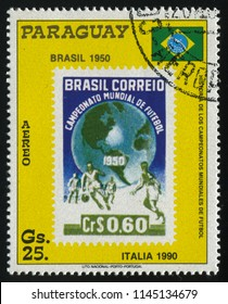 RUSSIA KALININGRAD, 22 APRIL 2017: stamp printed by Paraguay, shows World Cup, Soccer Championships, Brazil, circa 1988