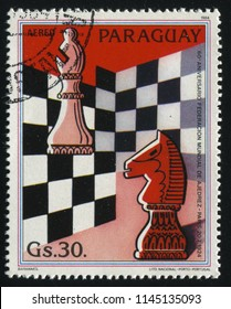RUSSIA KALININGRAD, 22 APRIL 2017: stamp printed by Paraguay, shows chess stamp, circa 1984