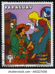 RUSSIA KALININGRAD, 22 APRIL 2017: stamp printed by Paraguay, shows Cinderella, circa 1979