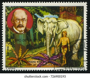 RUSSIA KALININGRAD, 22 APRIL 2017: stamp printed by Paraguay, shows Rudyard Kipling and scene from Jungle Book, circa 1977