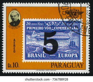 RUSSIA KALININGRAD, 22 APRIL 2017: stamp printed by Paraguay, shows Sir Rowland Hill and a stamp reproducing airship Graf Zeppelin, circa 1979